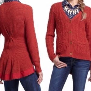 Anthro Far Way From Close Knit Wool Cardigan L